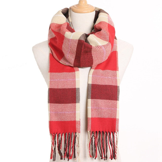 Cashmere Cotton Blends Plaid Winter Scarf for Women - Style 6