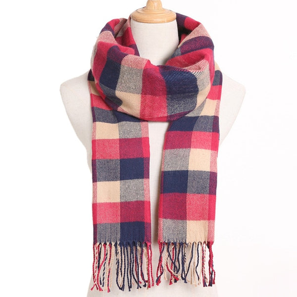 Cashmere Cotton Blends Plaid Winter Scarf for Women - Style 5