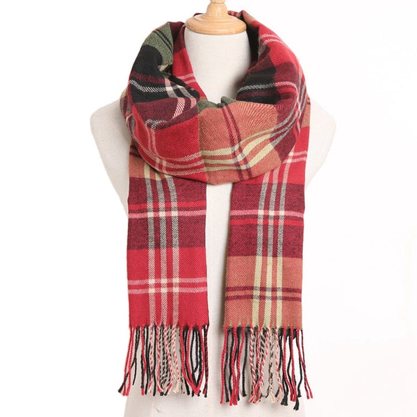 Cashmere Cotton Blends Plaid Winter Scarf for Women - Style 8