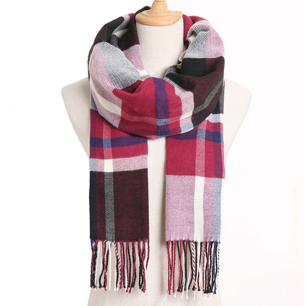 Cashmere Cotton Blends Plaid Winter Scarf for Women - Style 7
