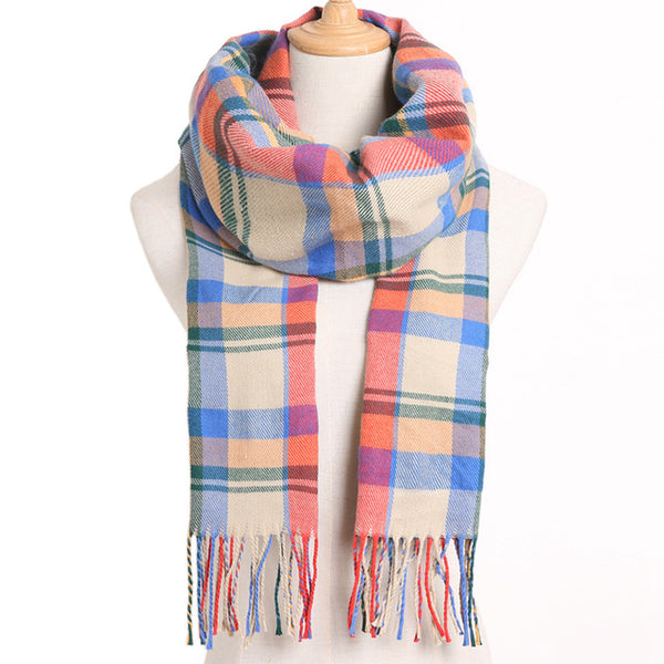Cashmere Cotton Blends Plaid Winter Scarf for Women - Style 10