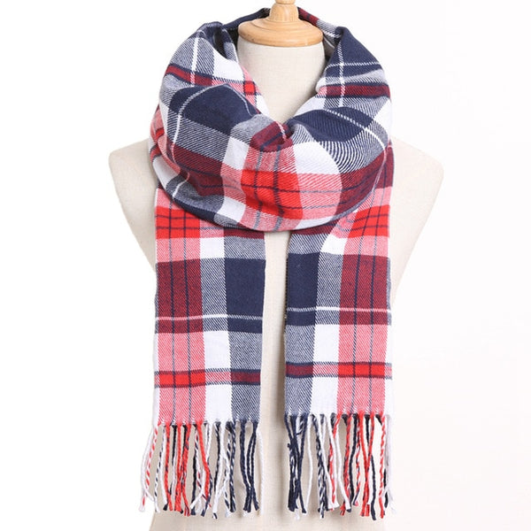 Cashmere Cotton Blends Plaid Winter Scarf for Women - Style 9