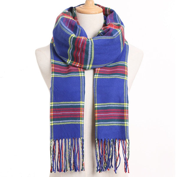 Cashmere Cotton Blends Plaid Winter Scarf for Women - Style 12