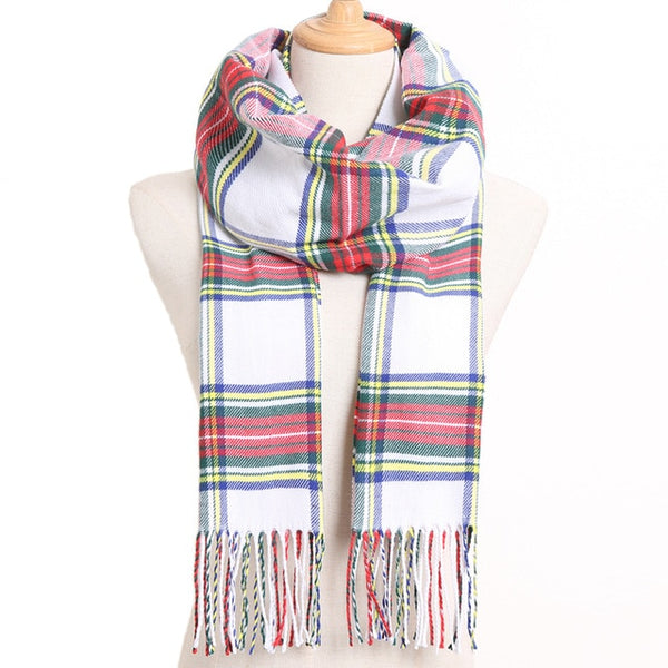 Cashmere Cotton Blends Plaid Winter Scarf for Women - Style 11