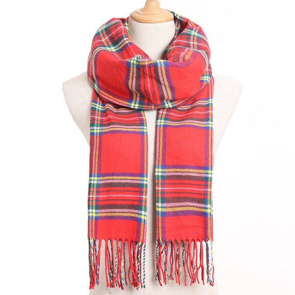 Cashmere Cotton Blends Plaid Winter Scarf for Women - Style 14