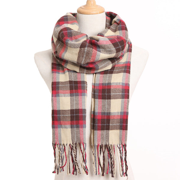 Cashmere Cotton Blends Plaid Winter Scarf for Women - Style 13