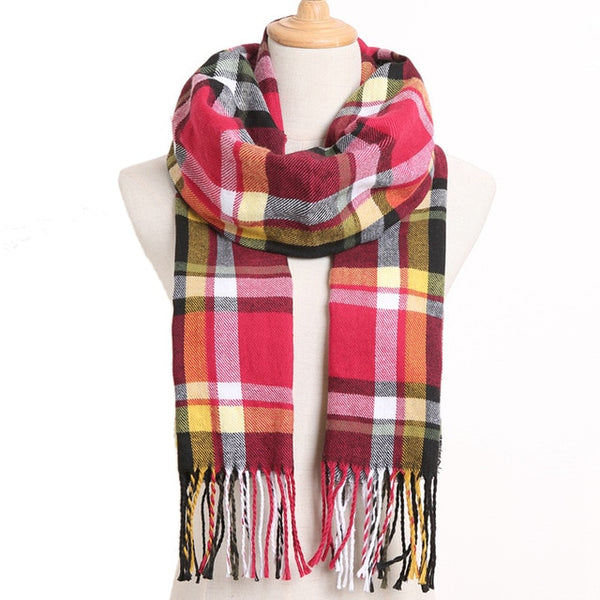 Cashmere Cotton Blends Plaid Winter Scarf for Women - Style 16