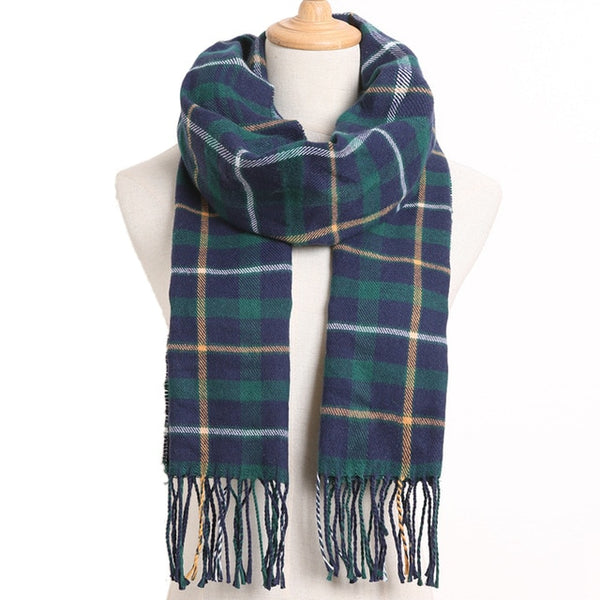 Cashmere Cotton Blends Plaid Winter Scarf for Women - Style 15