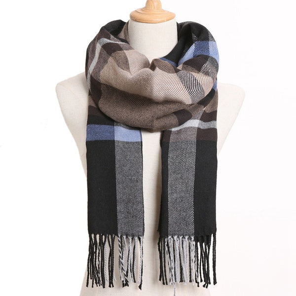 Cashmere Cotton Blends Plaid Winter Scarf for Women - Style 26