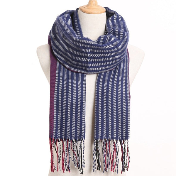 Cashmere Cotton Blends Plaid Winter Scarf for Women - Style 25