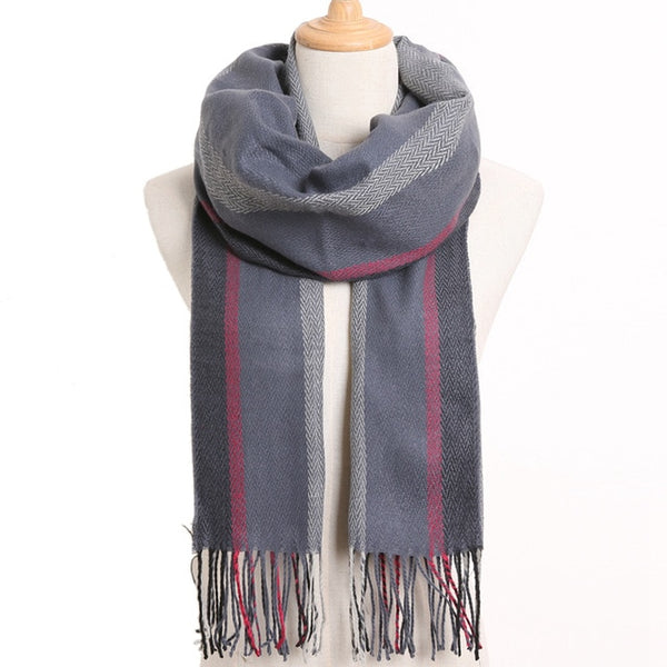 Cashmere Cotton Blends Plaid Winter Scarf for Women - Style 28