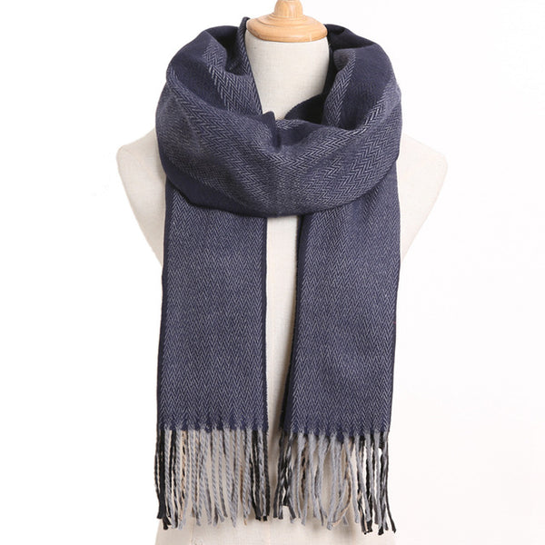Cashmere Cotton Blends Plaid Winter Scarf for Women - Style 27
