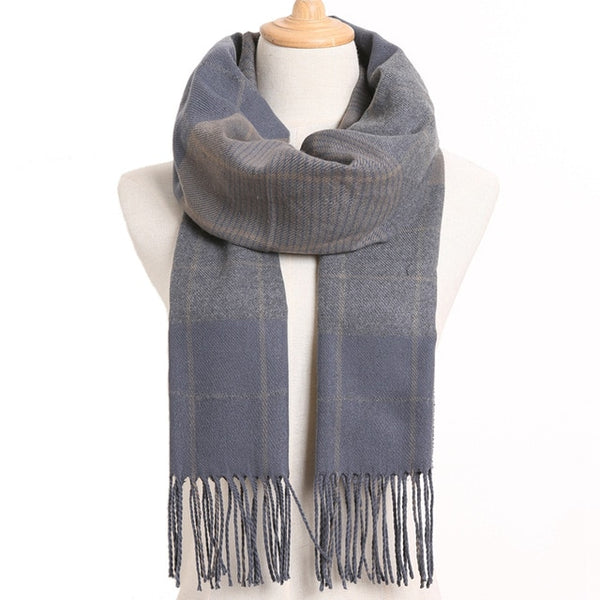 Cashmere Cotton Blends Plaid Winter Scarf for Women - Style 30