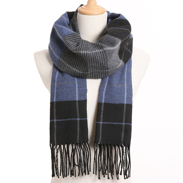 Cashmere Cotton Blends Plaid Winter Scarf for Women - Style 29
