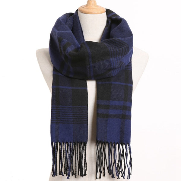 Cashmere Cotton Blends Plaid Winter Scarf for Women - Style 32