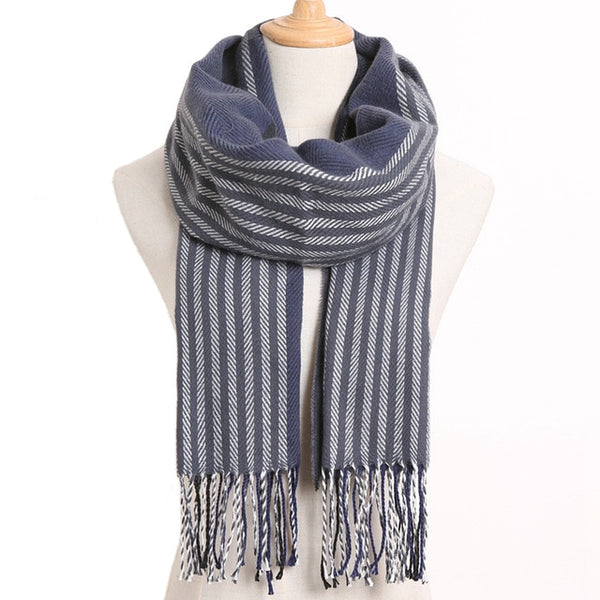 Cashmere Cotton Blends Plaid Winter Scarf for Women - Style 31