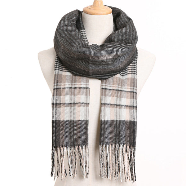 Cashmere Cotton Blends Plaid Winter Scarf for Women - Style 34