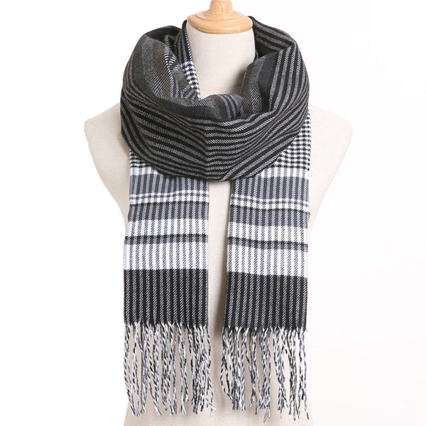 Cashmere Cotton Blends Plaid Winter Scarf for Women - Style 33