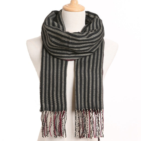 Cashmere Cotton Blends Plaid Winter Scarf for Women - Style 35