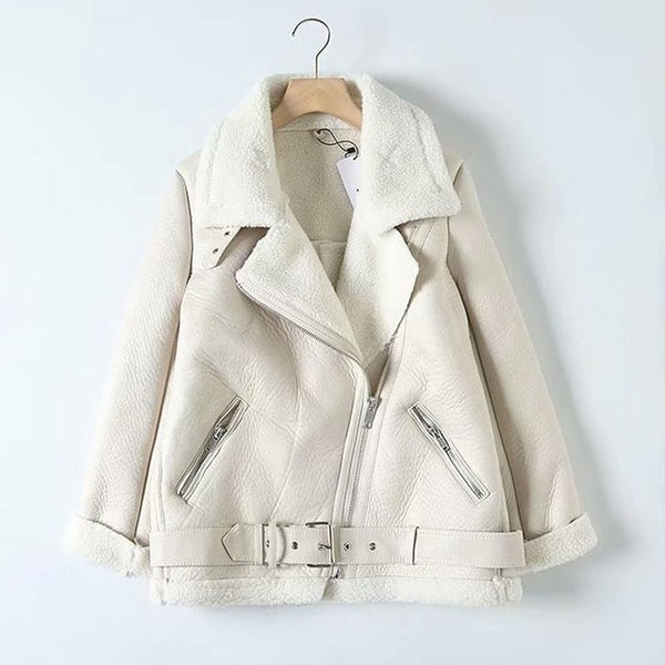 Authentic Vegan Soft Leather Fur Collar Jacket - White