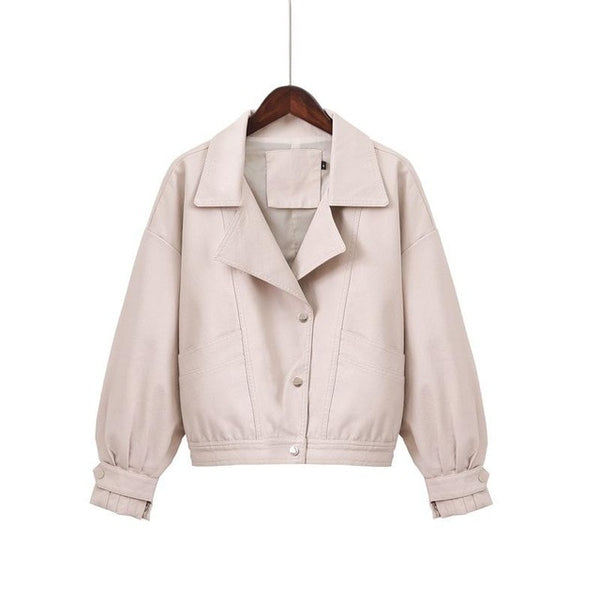 Pamela Soft Leather Single Breasted Loose Basic Jackets - Pink