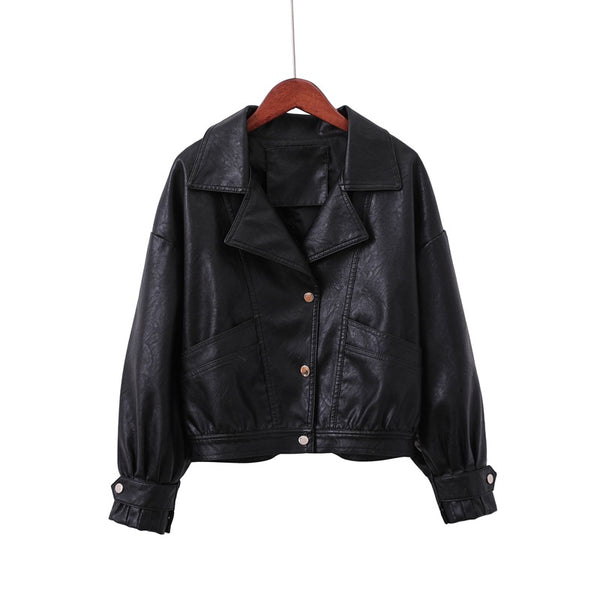 Camela Soft Leather Single Breasted Loose Basic Jackets