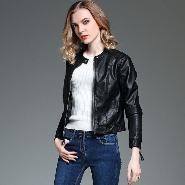 Barbara Street Casual Vegan Leather Jacket