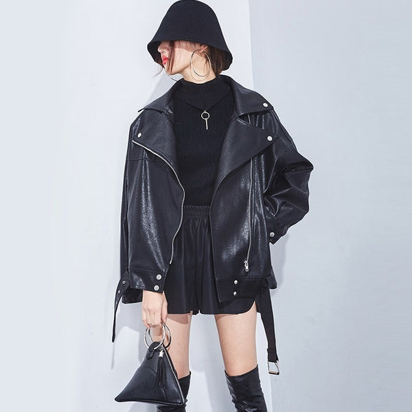 Raven Black Vegan Leather Loose Bikers Jacket Women