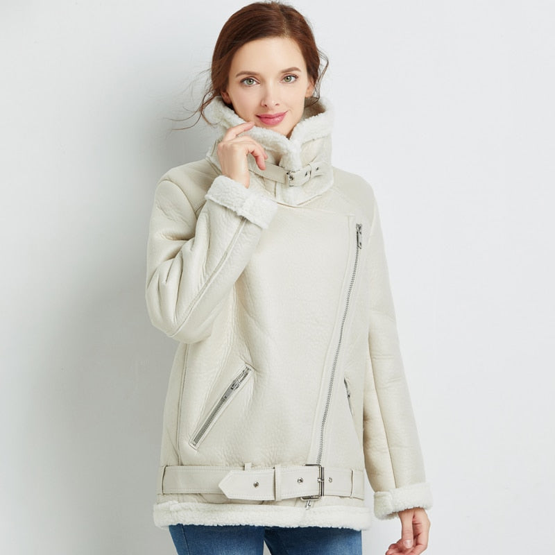 Harlow Winter Vegan Leather Lined White Moto Jacket Women
