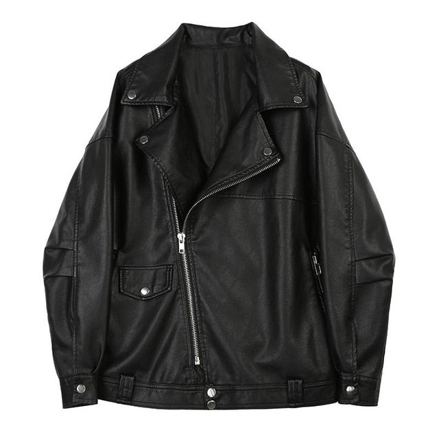 Sadie Black Vegan Leather Casual Jacket for Women