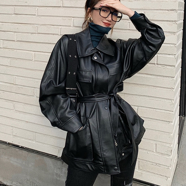 Vintage Tie Up Loose Vegan Leather Women Jacket