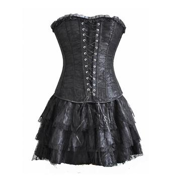 Vintage Dark Corset Dress- Black - BLACK RABBIT STORE