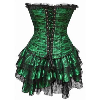 Vintage Dark Corset Dress - Green - BLACK RABBIT STORE