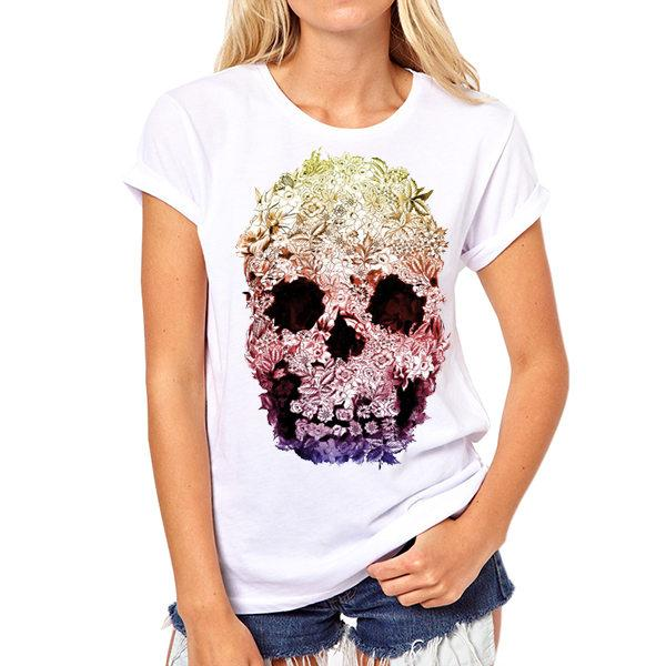 GIRLY SKULL T-SHIRT - BLACK RABBIT GOTHIC FASHION