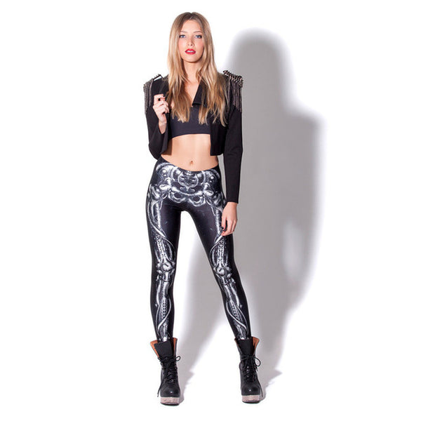 Skeleton Bones Leggings - BLACK RABBIT STORE