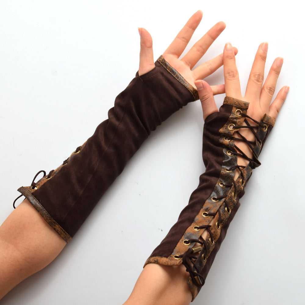 Victorian lace-up Cosplay Gloves - BLACK RABBIT STORE