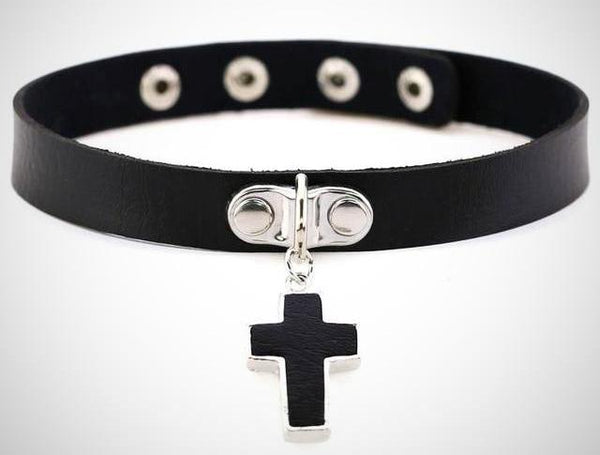 Morticia Gothic Cross Choker - BLACK RABBIT STORE