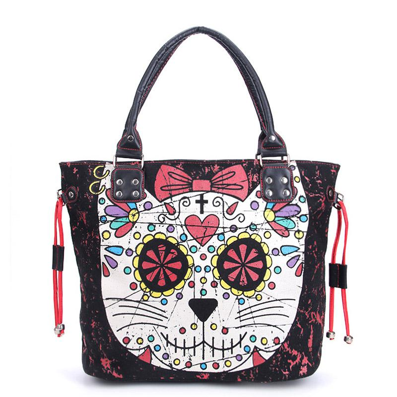 Sugar Skull Kitty Cat Candy Handbag - BLACK RABBIT GOTHIC FASHION