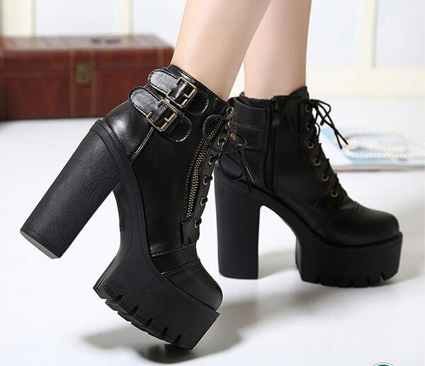 Elvira's Chunky Boots - BLACK RABBIT STORE