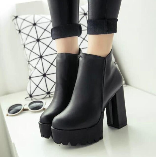 Gothic Thick Heel Platform Shoes - BLACK RABBIT STORE