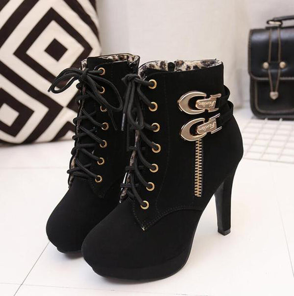 Sexy Platform Ankle Boots - BLACK RABBIT STORE