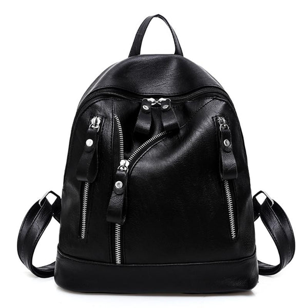 Women Punky Zipper Blackpack - BLACK RABBIT STORE