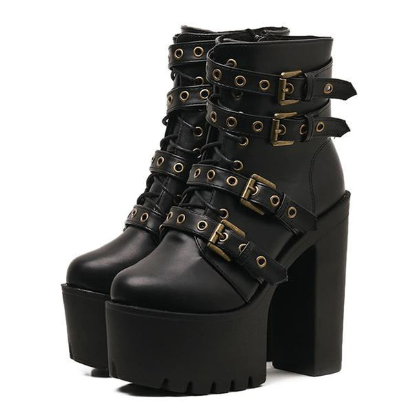 Sexy Strap-In Chunky Boots - BLACK RABBIT STORE
