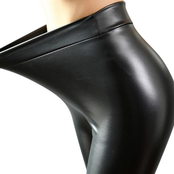 Punky Black Leather Leggings - BLACK RABBIT STORE