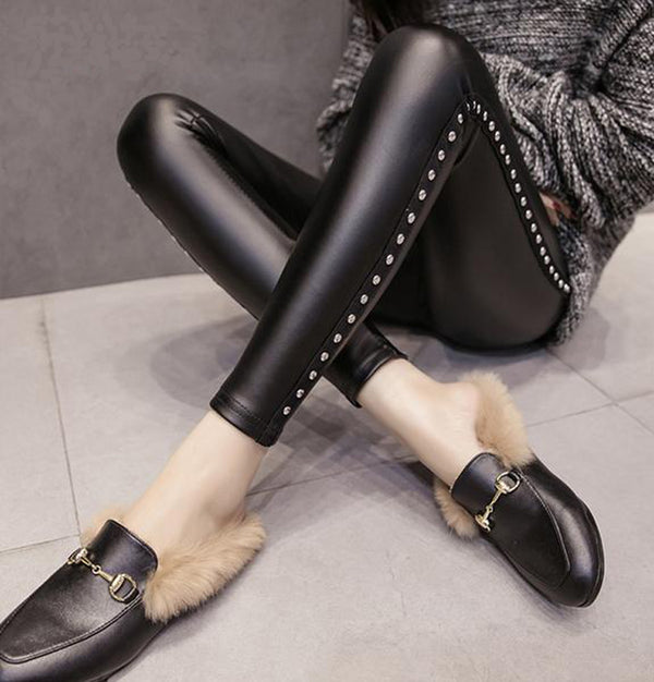 Punk Studded Leather leggings - BLACK RABBIT STORE