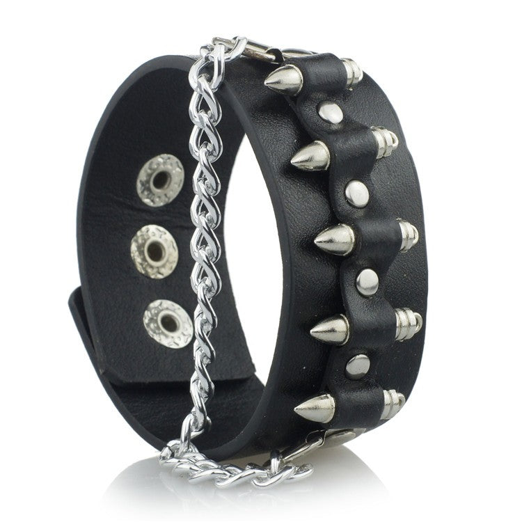 Rock Cool Cuff Leather Bracelet - BLACK RABBIT STORE