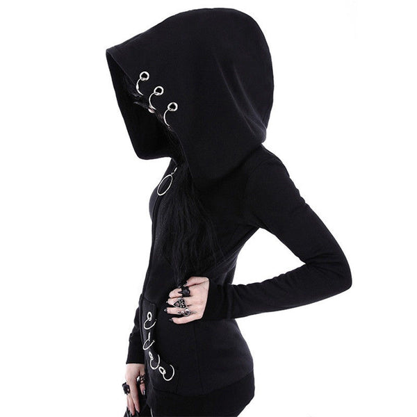 Gothic Punk Ringed Hoodie - BLACK RABBIT STORE