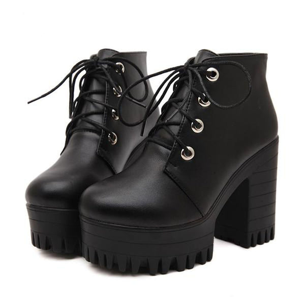 Fiona's Chunky Ankle Boots - BLACK RABBIT STORE