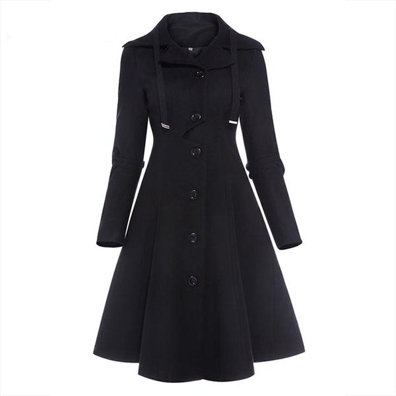 Gothic Lady Trench Coat - BLACK RABBIT STORE