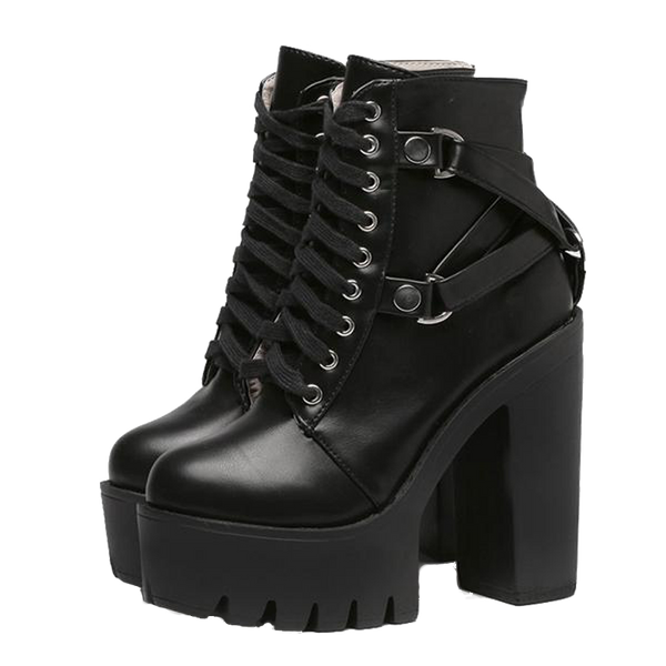 Chunky Platform Ankle Boots - BLACK RABBIT STORE